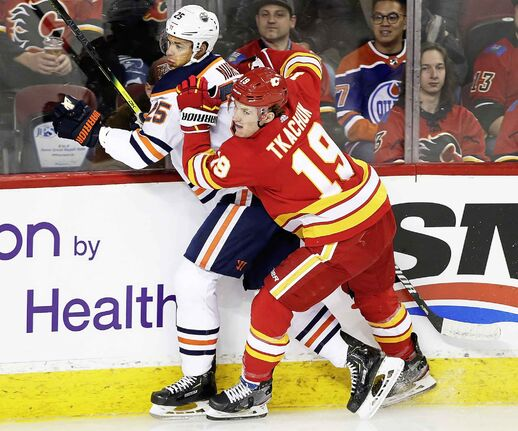 Calgary Flames' Matthew Tkachuk was a going concern for the Edmonton Oilers in Calgary's 4-3 win Saturday.