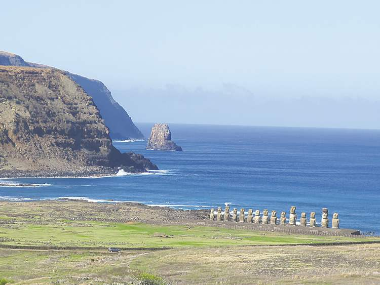 Fifteen moai stand watch at Tongariki on Easter Island. The largest moai on the 219-metre-long platform weighs 98 tonnes. The site was restored between 1992 and 1996 at a cost of over US$2 million, paid for by the Japanese government.