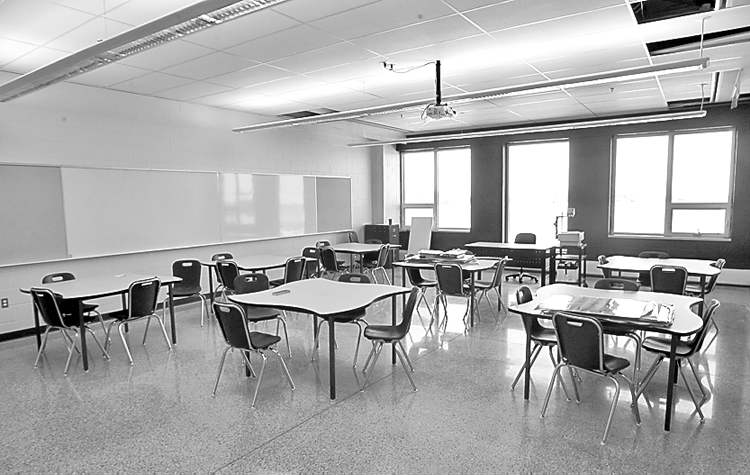 A typical classroom in Northlands Parkway Collegiate, which will open this week featuring natural light.