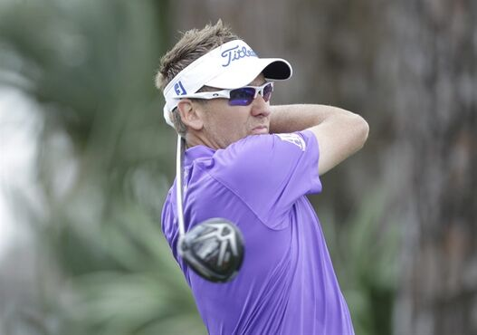 Ian Poulter hits from the second tee during the third round of the Honda Classic golf tournament, Sunday, March 1, 2015 in Palm Beach Gardens, Fla. (AP Photo/Luis M. Alvarez)