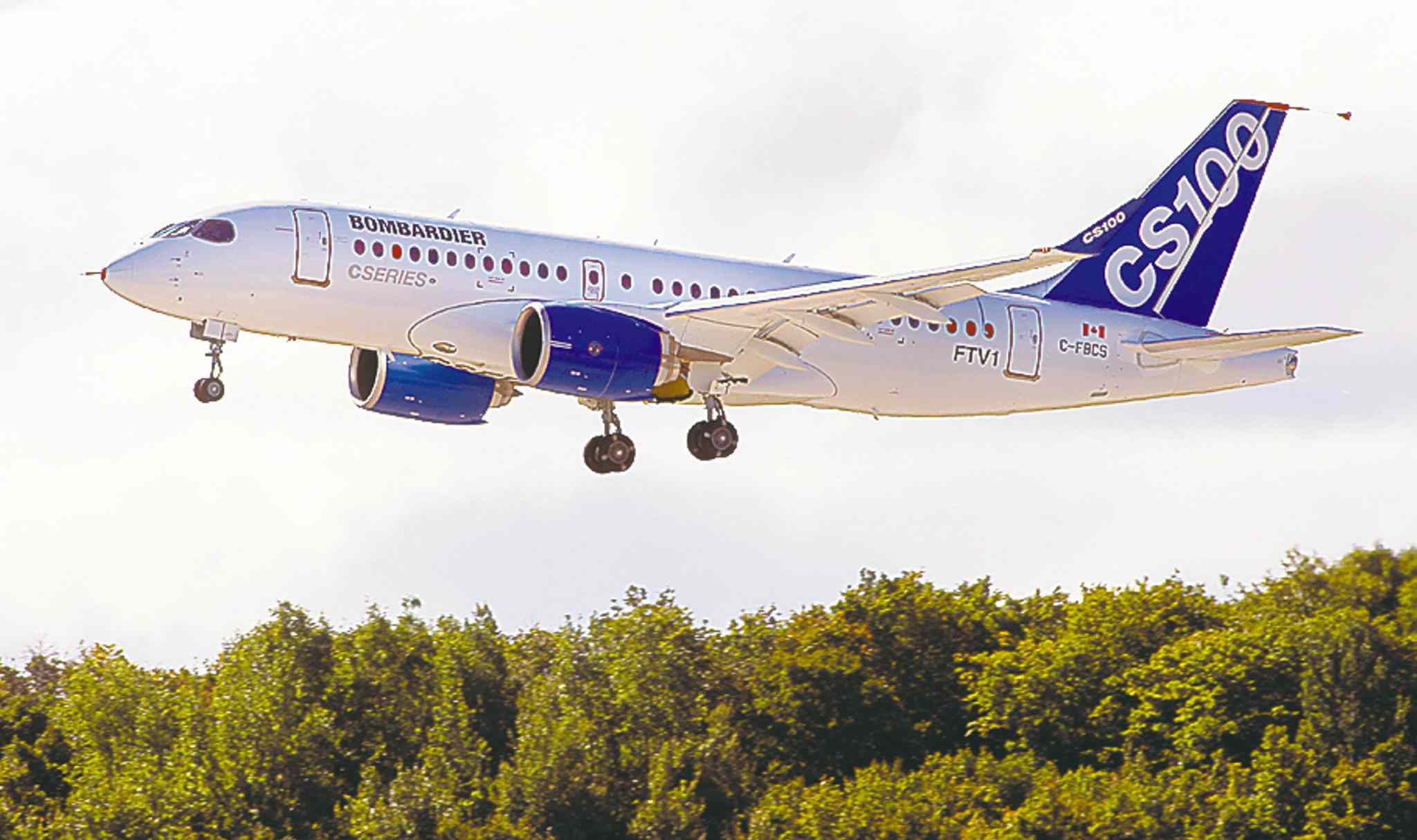 Bombardier hopes the CSeries100 will take away business from Airbus and Boeing.