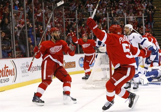 Detroit Red Wings center Joakim Andersson, center rear, celebrates his goal against the Tampa Bay Lightning with teammates Kyle Quincey, left, and Teemu Pulkkinen, right, in the second period of an NHL hockey game in Detroit Saturday, March 28, 2015. (AP Photo/Paul Sancya)