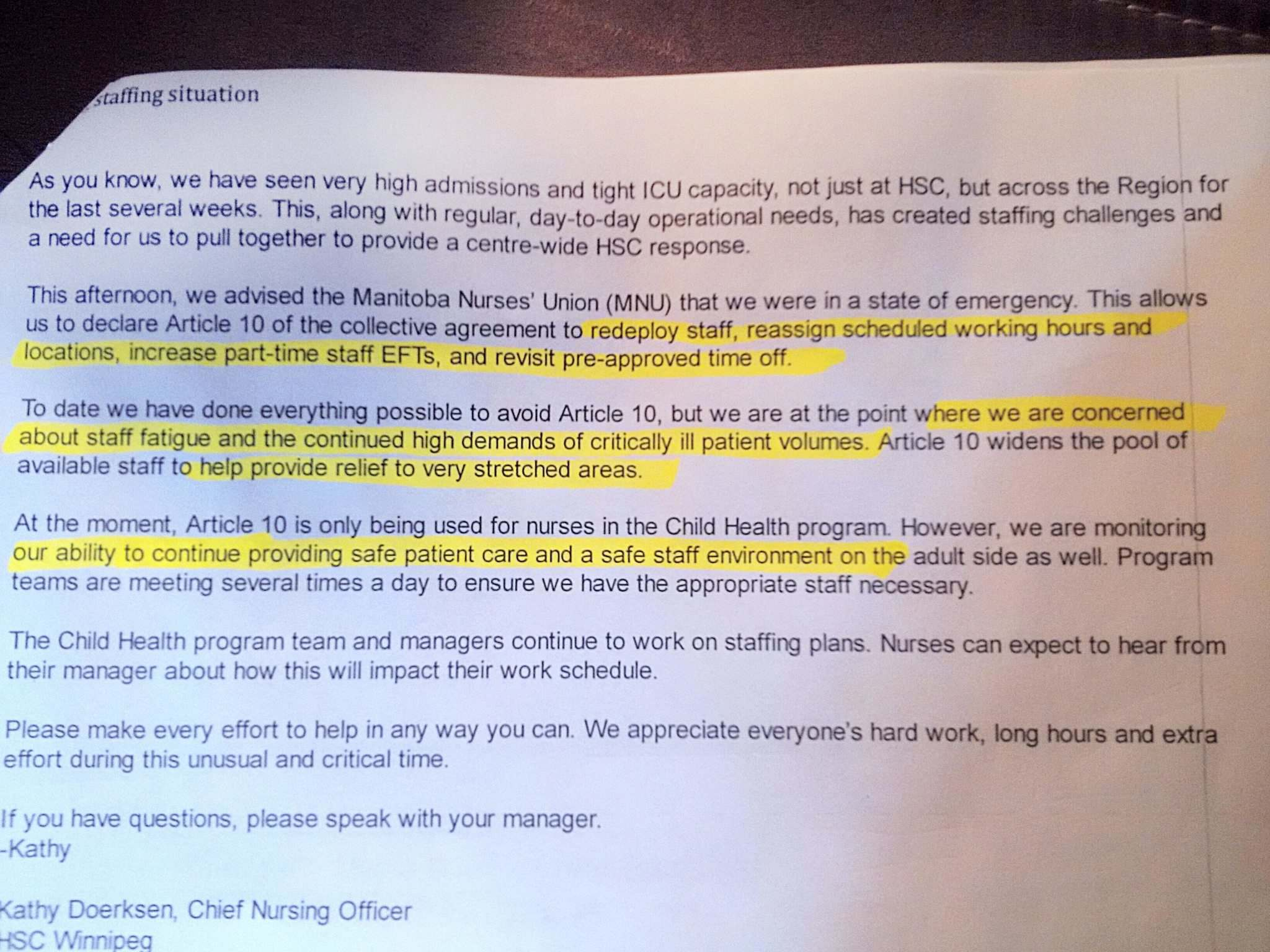SUPPLIED PHOTO</p><p>A screenshot of the letter from HSC to staff about state of emergency.</p>