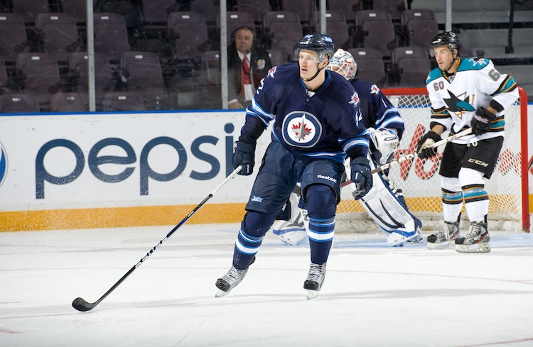 Ivan Telegin of the Winnipeg Jets In Friday's game against the San Jose Sharks at the 2013 Young Stars tournament at the South Okanagan Event Centre in Penticton, B.C., Friday.