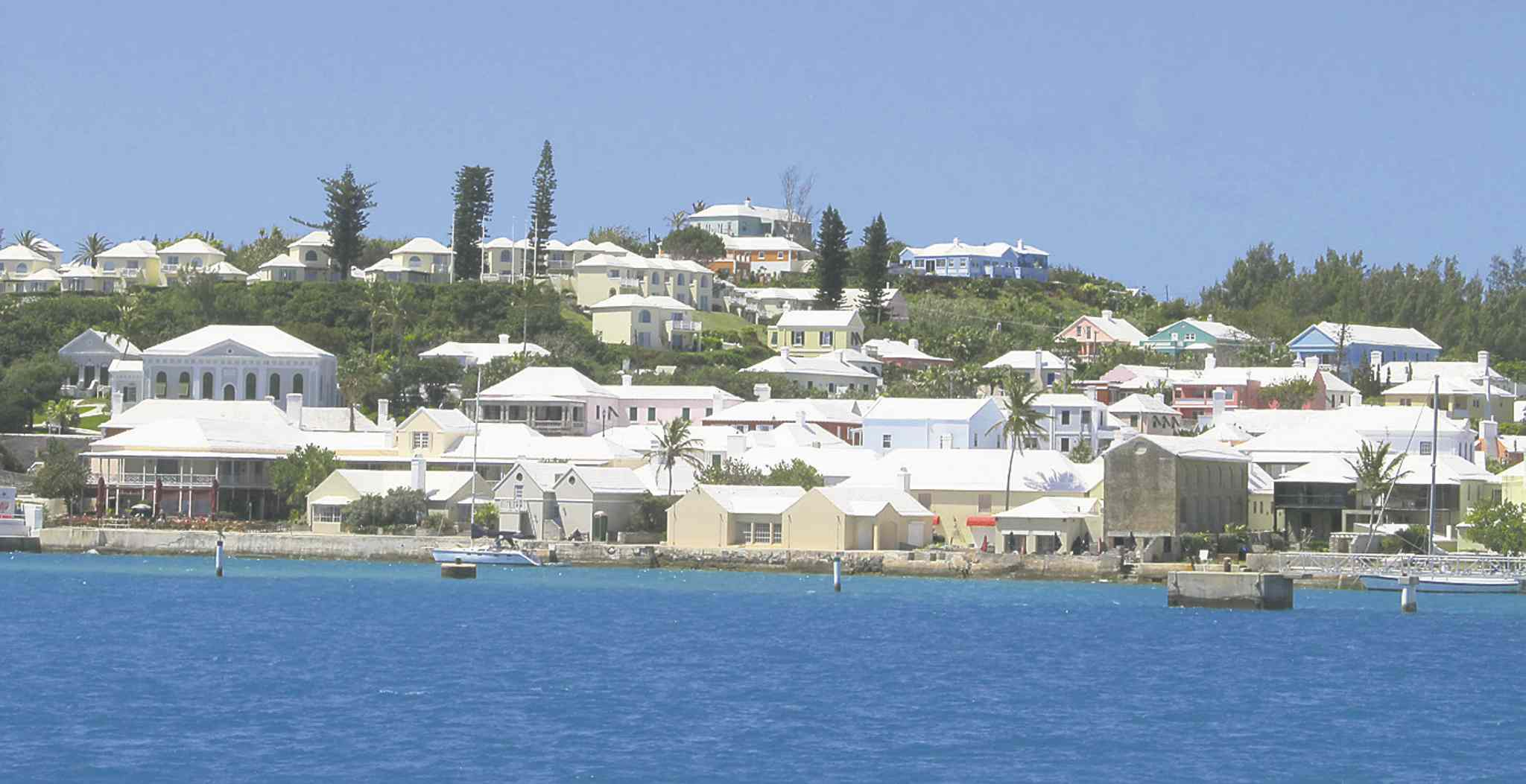 Bermuda buildings with white roofs designed to collect and purify rain water.