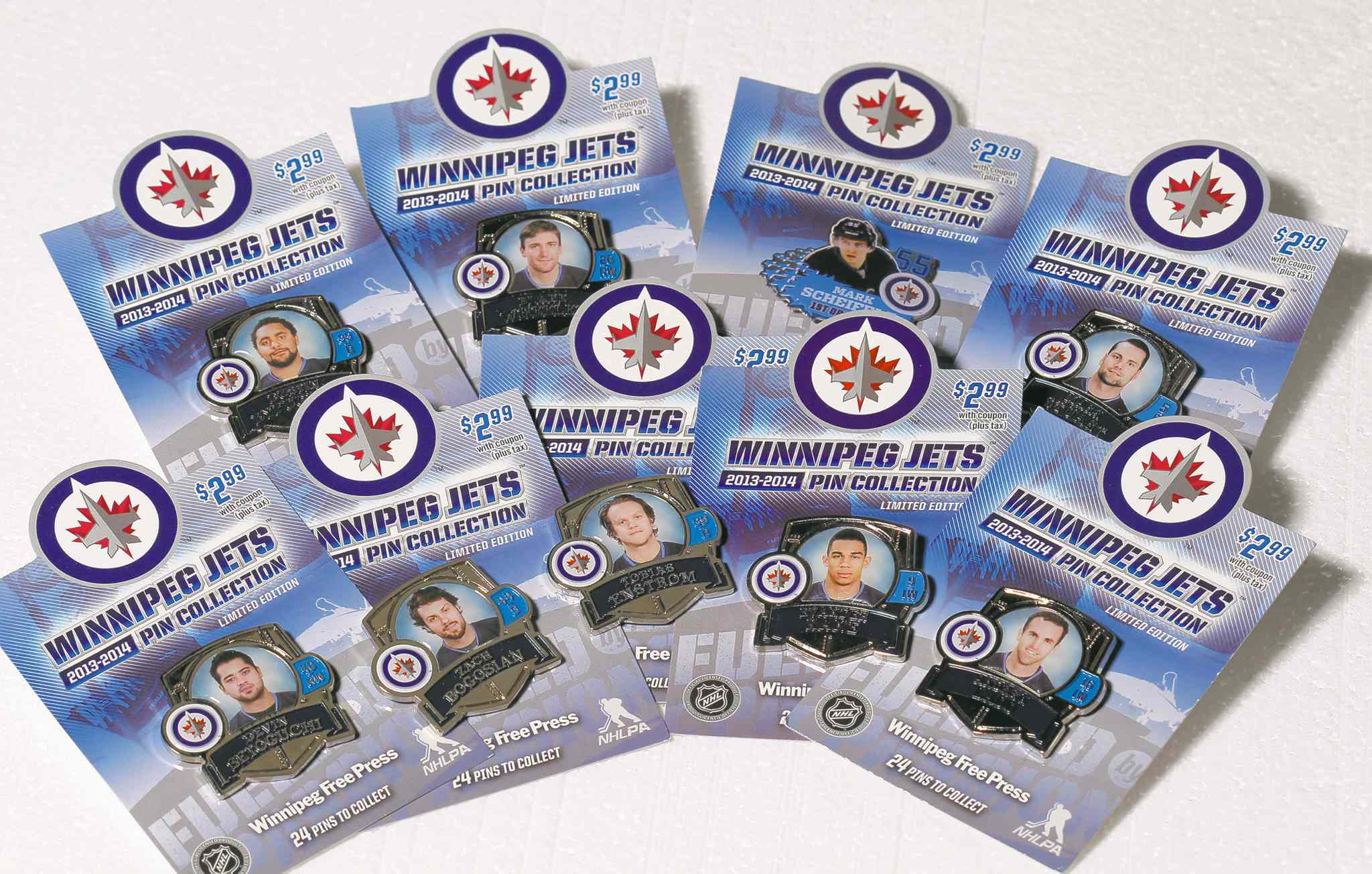 BORIS MINKEVICH / WINNIPEG FREE PRESSAndrew Ladd, Dustin Byfuglien and Evander Kane are among the featured players in the Winnipeg Jets collector pin set.