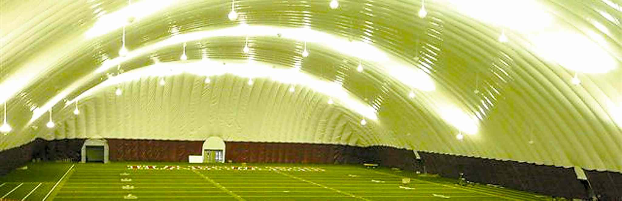 Artist's depiction of an inflatable bubble over a stadium field. Investors Group Field will not be getting one.