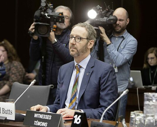 Gerald Butts, former principal secretary to Prime Minister Justin Trudeau, prepares to appear before the Standing Committee on Justice and Human Rights regarding the SNC-Lavalin Affair, on Parliament Hill Wednesday.