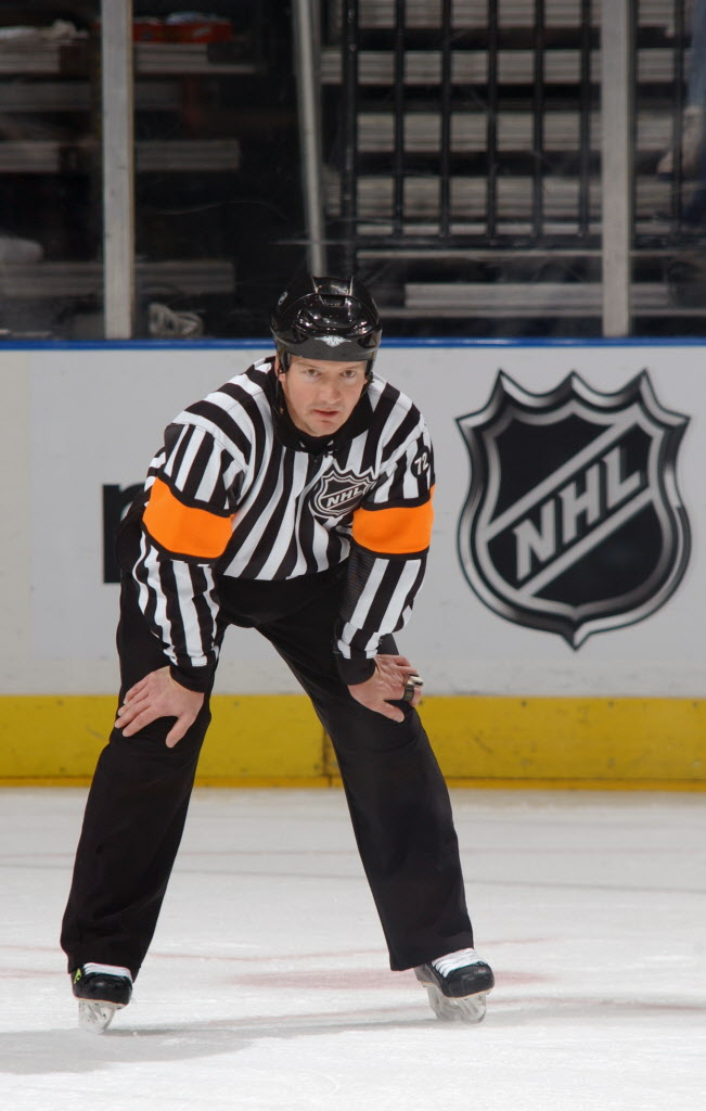 Referee Rob Martell looks on during the Carolina Hurricanes game against the Atlanta Thrashers at Philips Arena in Atlanta, Georgia in January 2006.