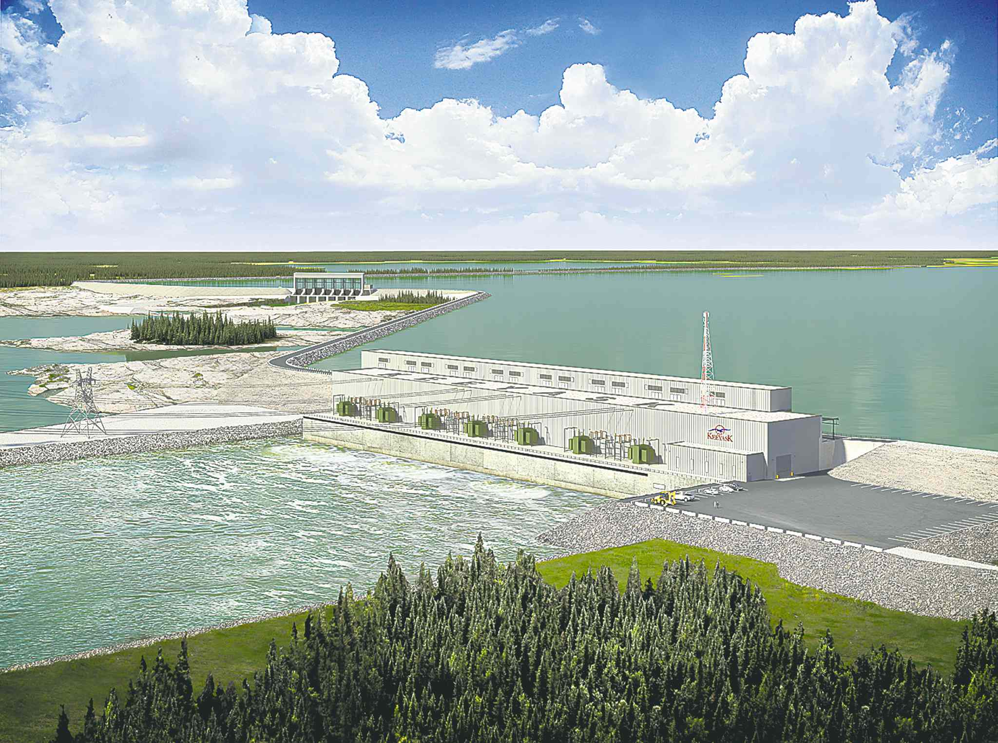 An artist's rendering of the Keeyask dam on the Nelson River. The project will be an extension of the overall hydro system.