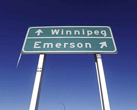 A road sign is seen near Emerson, Man.