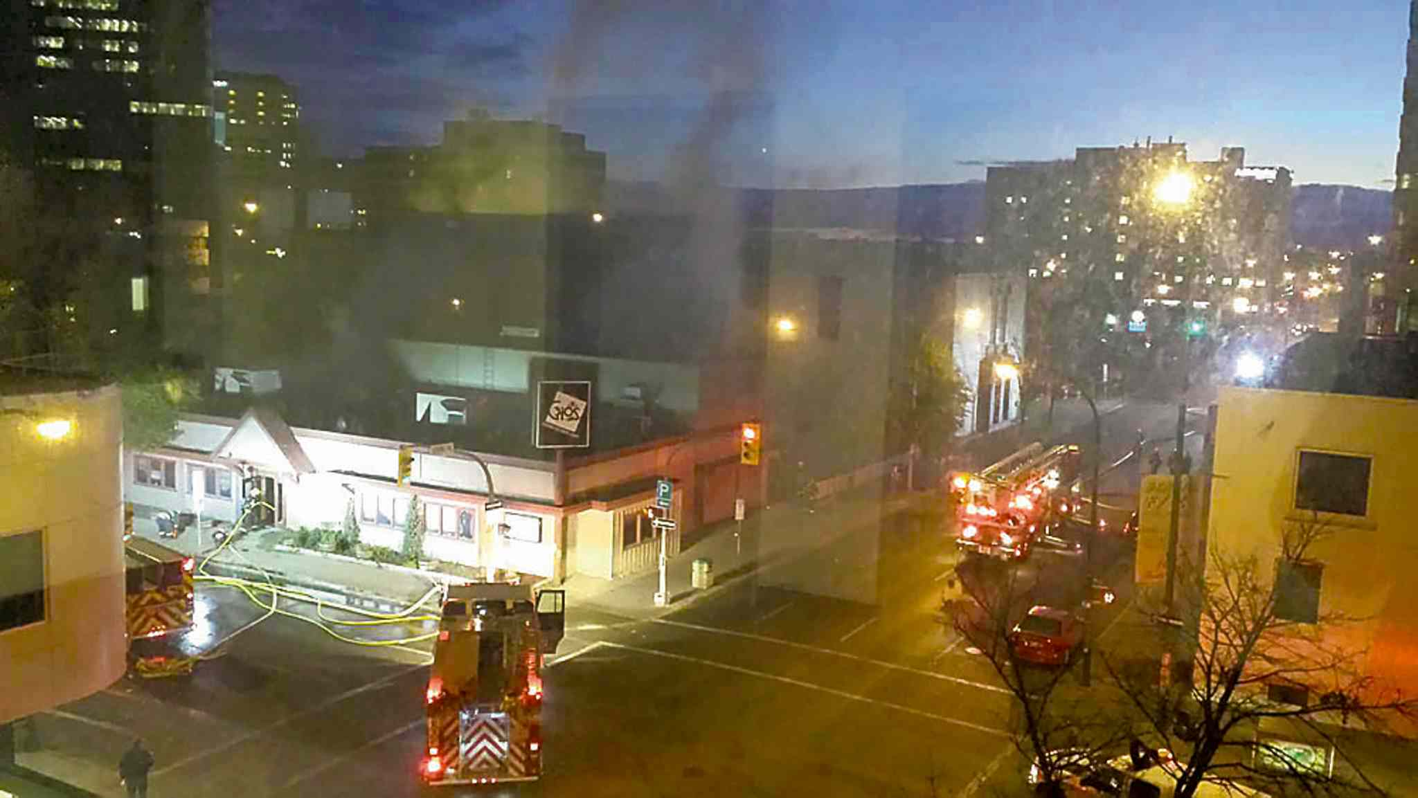 Crews respond to a fire at the former Gio's Club and Bar at the corner of Smith Street and York Avenue Saturday morning. The business closed in February.