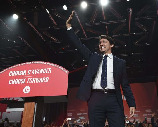 Prime Minister Justin Trudeau was all smiles on Monday night, but a minority mandate means tense times ahead for the Liberal government. (Sean Kilpatrick / The Canadian Press)