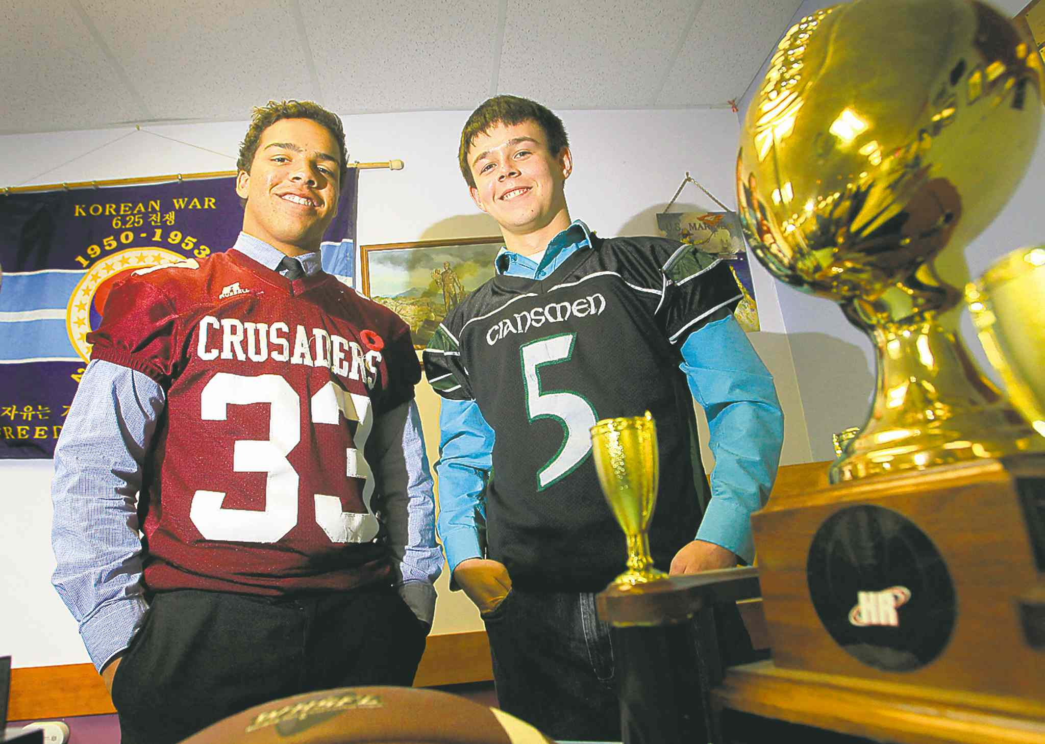 St. Paul's Crusaders running back Alex Taylor and Murdoch MacKay Clansmen quarterback Drenin Busch will be playing in the WHSFL John Potter championship on Friday night.