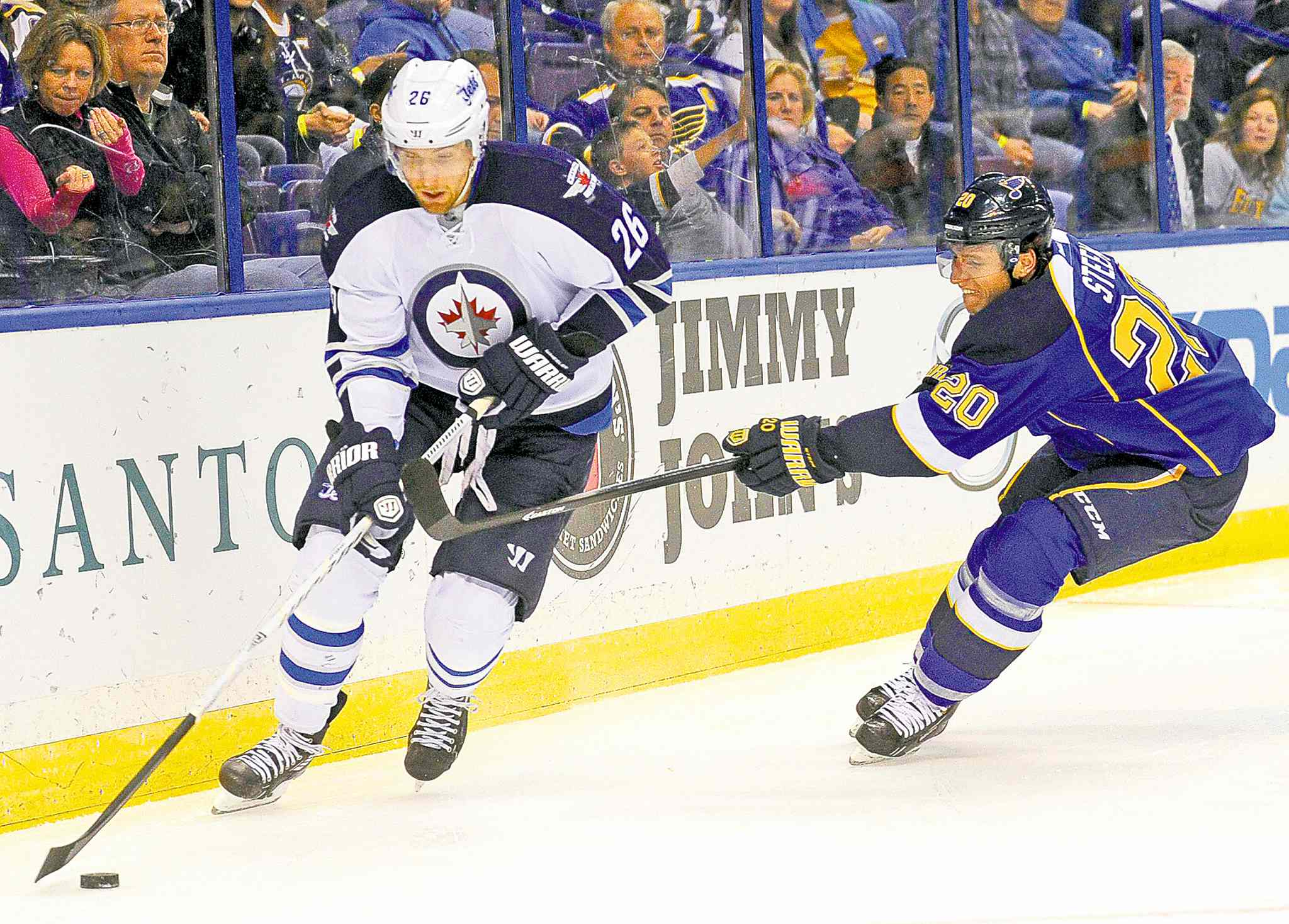 To find the Jets' last power-play goal, you have to go back to Oct. 29 in St. Louis, where Blake Wheeler (seen skating around Alex Steen) scored.