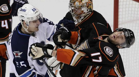 The Ducks received one of their advantages on Thursday when centre Ryan Kesler took a glove to the face from Jets centre Mark Scheifele.