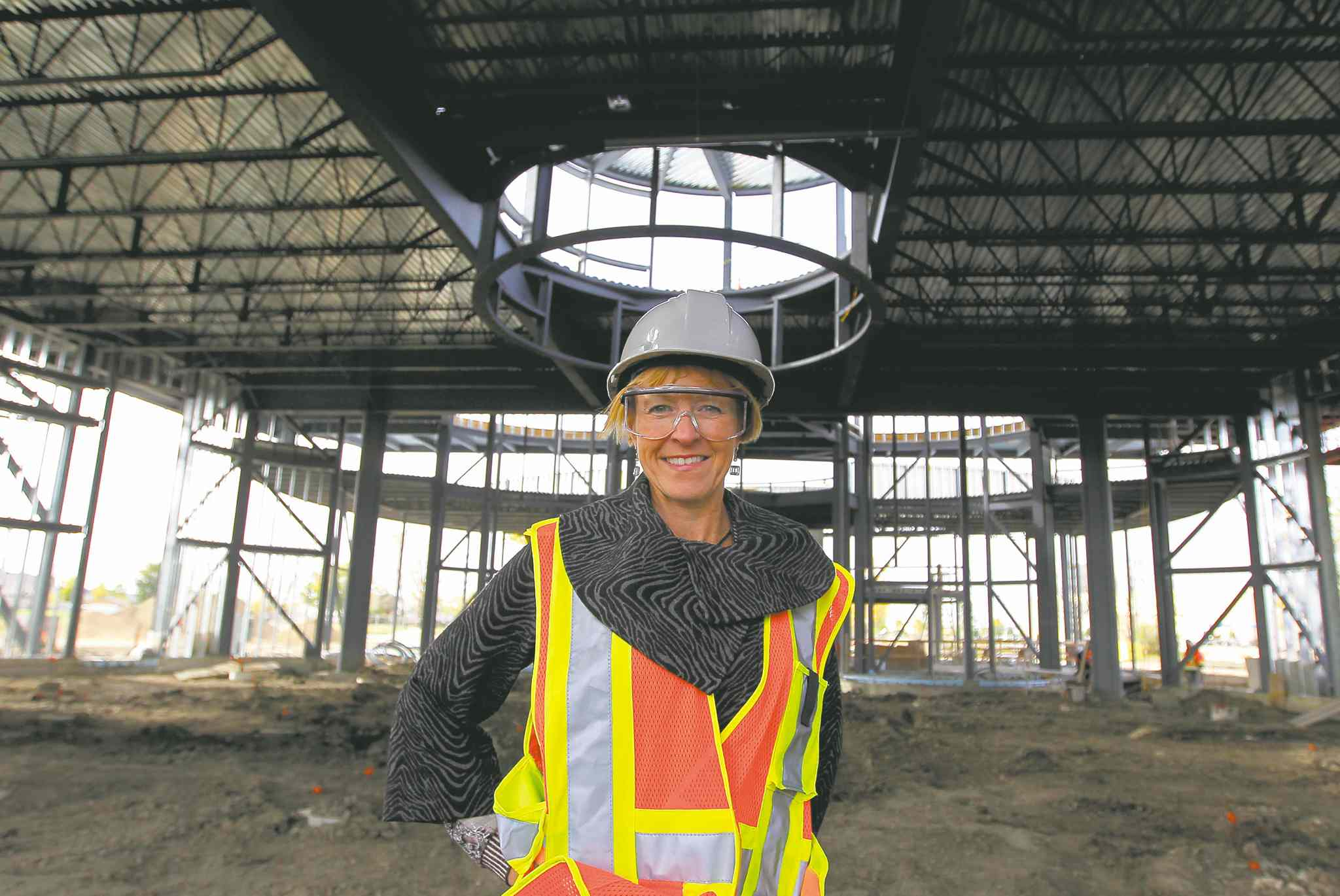 Monique Gauthier at the building site of the Living Waters Columbarium, which will have 4,000 niches for remains.