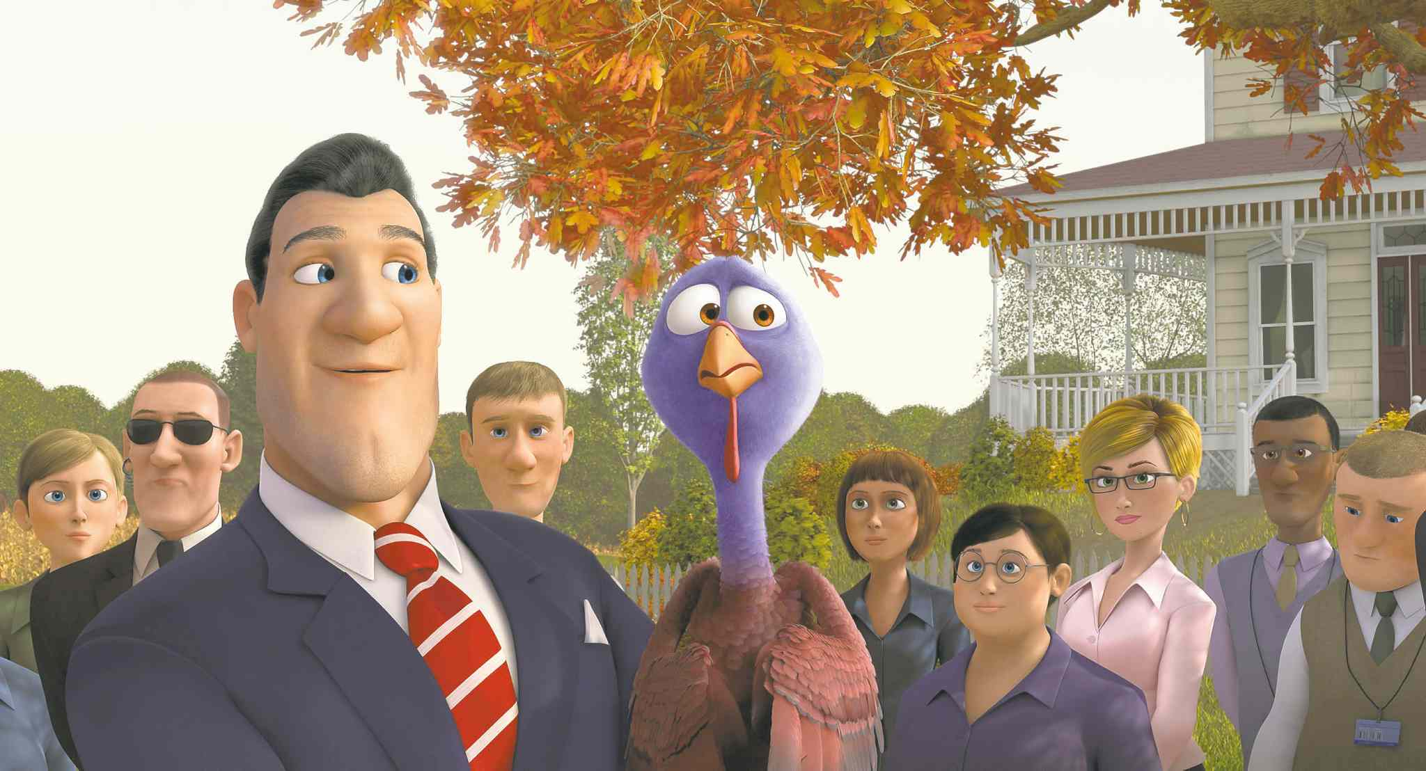This image released by Relativity Media shows The President, voiced by Jimmy Hayward (left) and Reggie, voiced by Owen Wilson, in a scene from the animated movie Free Birds. (Relativity Media / The Associated Press)