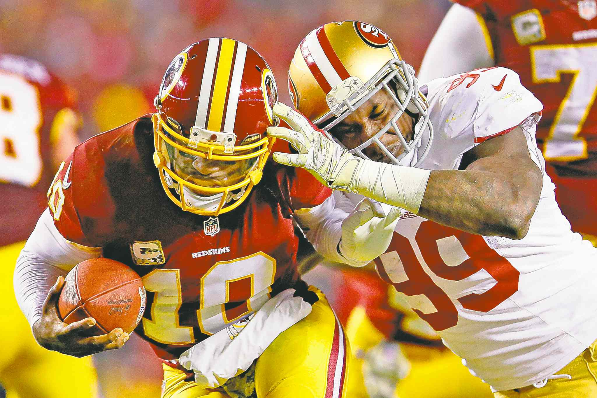 Redskins quarterback Robert Griffin III is sacked by San Francisco linebacker Aldon Smith during the second half of the 27-6 Niners triumph Monday night.