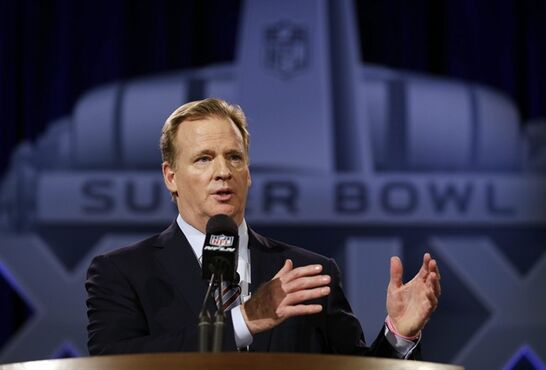 NFL Commissioner Roger Goodell participates in a news conference for NFL Super Bowl XLIX football game Friday, Jan. 30, 2015, in Phoenix. (AP Photo/David J. Phillip)