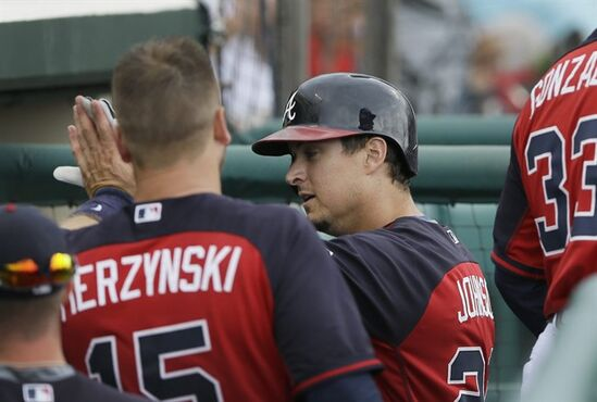 Atlanta Braves' Kelly Johnson is congratulated in the dugout after his solo home run during the sixth inning of a spring training exhibition baseball game against the Boston Red Sox in Kissimmee, Fla., Friday, March 27, 2015. (AP Photo/Carlos Osorio)