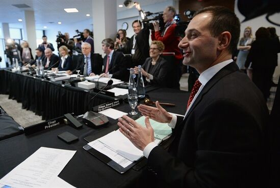 Prince Edward Island Premier Robert Ghiz chairs a meeting during Canada's premiers meeting in Ottawa on Friday, January 30, 2015. THE CANADIAN PRESS/Sean Kilpatrick