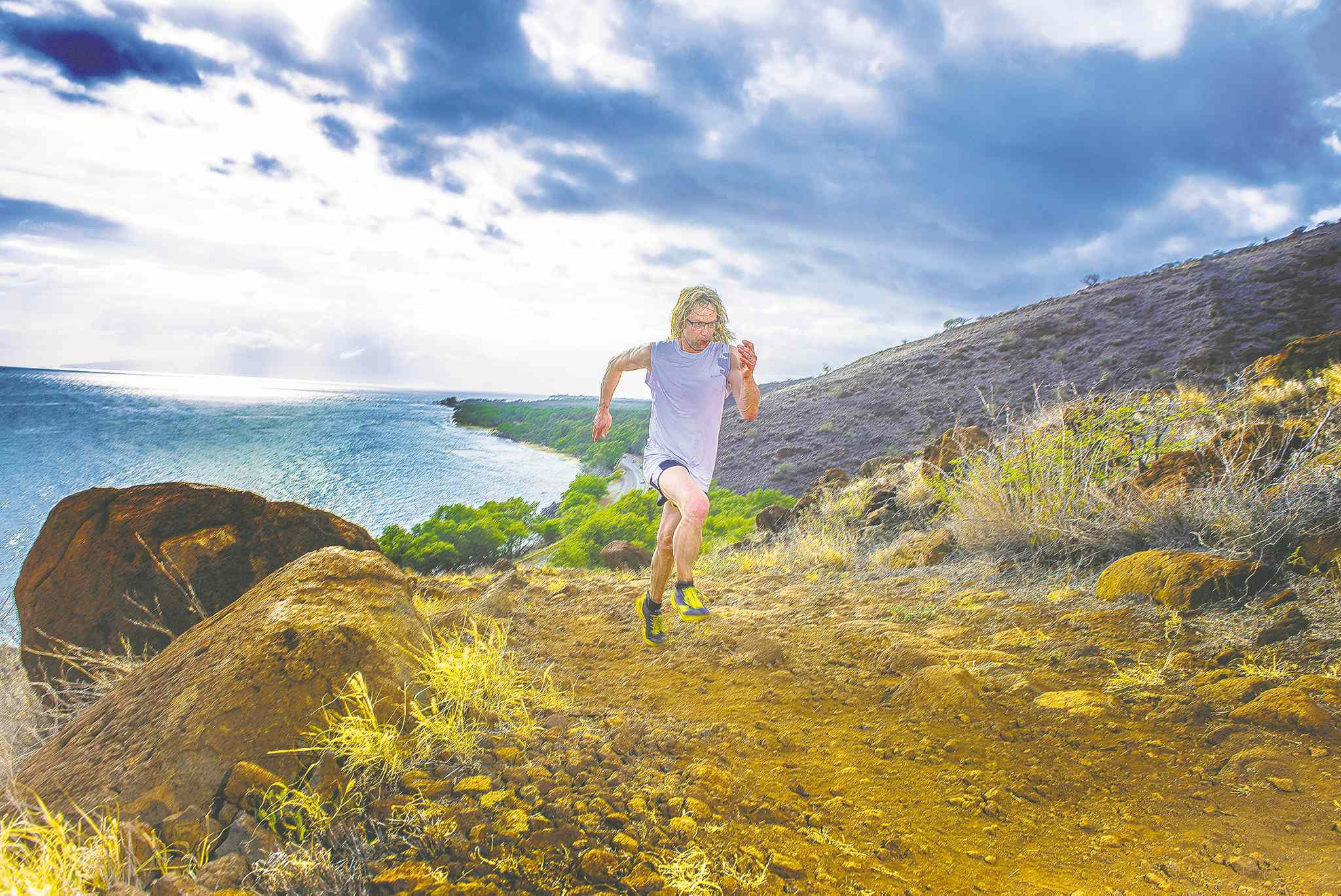 Peter Estabrooks running in Maui.