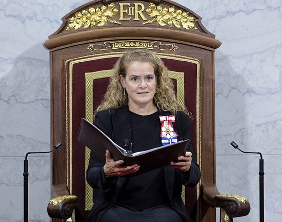 Governor General Julie Payette delivers the Throne Speech in the Senate chamber, Thursday in Ottawa.