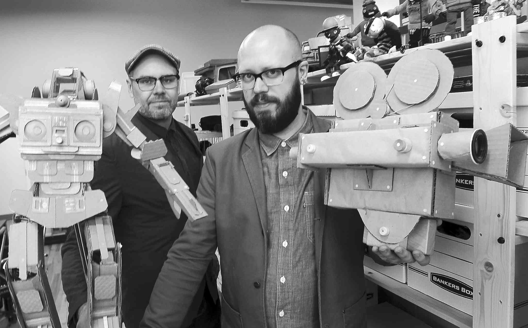 Christian Procter, left, and Sean Procter in their Winnipeg studio. The inventive brothers are set to release their latest labour-intensive video for local hip-hop act the Lytics.