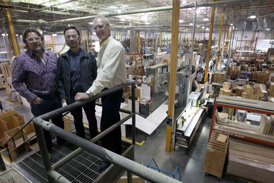 Mark Buller (from left), general manager Phil Buller and J.W. Coady, vice-president of operations, in their plant.
