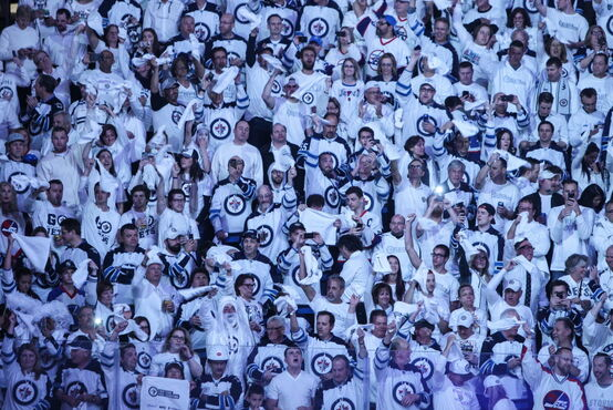 Fans cheer minutes prior to the start of the third game of the Stanley Cup playoff series between the Winnipeg Jets and the Anaheim Ducks at MTS Centre Monday night.