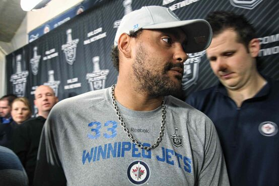 Dustin Byfuglien channelled his inner Marshawn Lynch this morning by responding to every question with the answer, 'as long as we stick together as a team we'll be all right.' Byfuglien picked up a roughing penalty for decking Ducks Corey Perry seconds after the star winger scored.