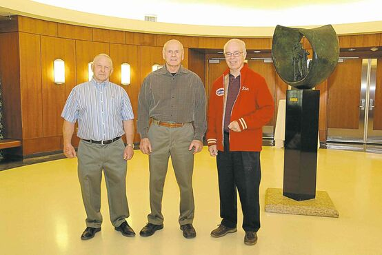 The 2015 Manitoba Motorsports Hall of Fame inductees, left to right, Warren Schettler, Paul Germain and Ken MacKenzie. The trio were inducted at Piston Ring�s annual World of Wheels car show.