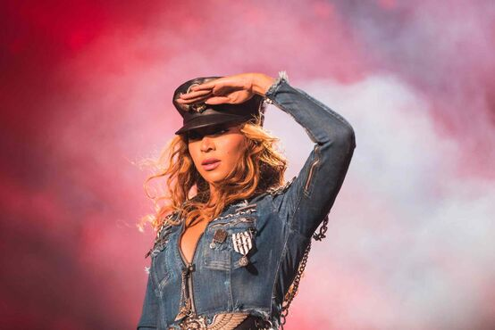 Beyoncé performs during the On The Run tour at Investors Group Field on Sunday.