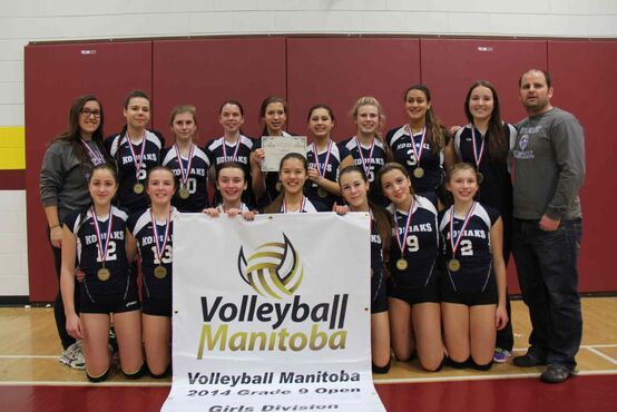 The River East Collegiate Grade 9 girls' volleyball team had an incredible year, going 44-0 in matches this season and 109-3 in sets. Back Row (left to right): Coach Lauren Campbell, Jane Funk, Taylor Thurston, Rachel Ferstl, Elli Harder, Kira Oakes, Kenzie Hamm, Laila Arjoon, coach Emily Harrison, and coach Jeff Spark.  Front row: Megan Firman, Kaitlyn Koch, Holly Simpson, Tori Isfjord, Kallista Connelly, Kaida Smith, and Felicity Taylor-Evans. Missing: Delaney Mansky.