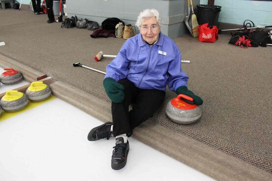 Florence Albi, 95, was honoured by the Pembina Ladies Curling Club with a personalized rock. Albi has been curling at the club for  50 years.
