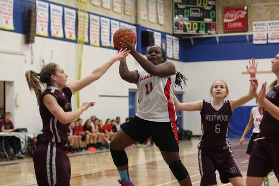 Sisler Spartans player Kyanna Giles in action against the Westwood Warriors on March 4. The Grade 10 player was named conference tournament MVP following the Spartans win over Oak Park in the Tier 1 championship game on March 7.