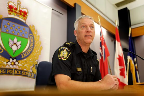Constable Eric Hofley makes grim announcement to the media about the remains of multiple babies being found in a storage locker in Winnipeg Tuesday morning.   Oct 21,  2014 Ruth Bonneville / Winnipeg Free Press