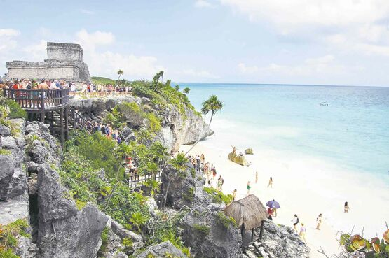 Tulum: The ancient Mayans had it figured out -- a protected trading city on the clifftop with beautiful Caribbean Sea beaches below.