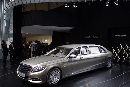 The new Mercedes-Maybach Pullman is presented on the first press day of the Geneva International Motor Show Tuesday, March 3, 2015 in Geneva, Switzerland. The show opens its doors to the public March 5 through March 15. (AP Photo/Laurent Cipriani)