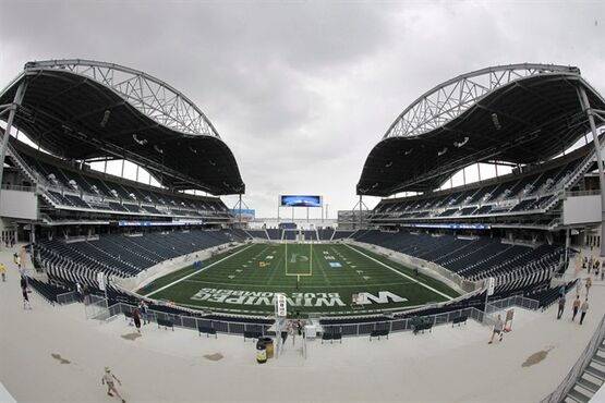 Winnipeg Blue Bombers' new home Investors Group Field prior to the first day of Rookie Training Camp in Winnipeg on May 29, 2012. The construction company that built Winnipeg's new football stadium is standing behind its work. The CEO of Stuart Olson Dominion says his company is not to blame for alleged drainage issues and other problems at Investors Group Field. THE CANADIAN PRESS/John Woods