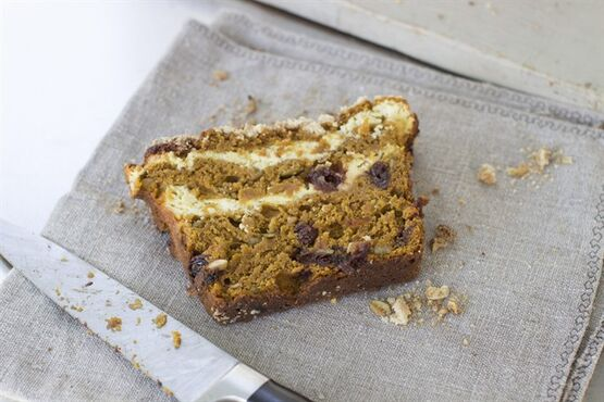 This Sept. 8, 2014 photo shows cream cheese filled ginger cherry pumpkin bread in Concord, N.H. The bread is tender and moist, and delivers loads of flavor. (AP Photo/Matthew Mead)