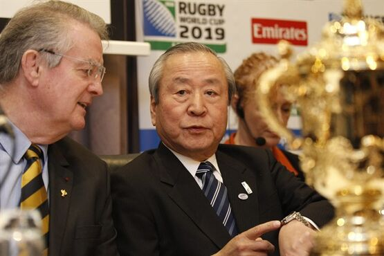 Akira Shimazu, CEO Japan Rugby World Cup 2019 gestures as he attends the announcement of the host cities and venues for the Rugby World Cup in Japan 2019 following a press conference in Dublin, Ireland, Monday March 2, 2015. (AP Photo/Peter Morrison)