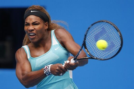 Serena Williams of the United States return a shots to Silvia Soler-Espinosa of Spain during the first round of China Open tennis tournament at the National Tennis Stadium in Beijing, China, Monday, Sept. 29, 2014. (AP Photo/Vincent Thian)