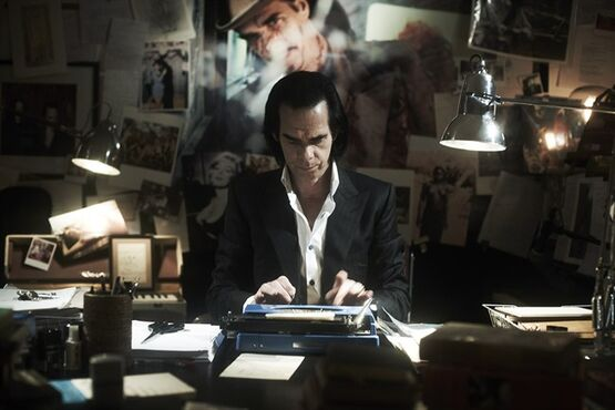 Musician Nick Cave is shown in a scene from the film