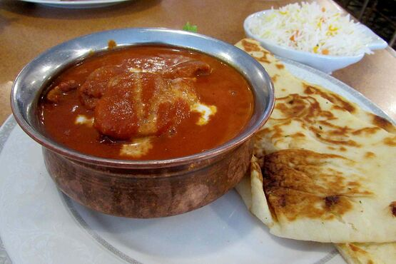 The Roadhouse's butter chicken includes hearty pieces of both light and dark meat, and is served with pilau rice and buttery naan bread.