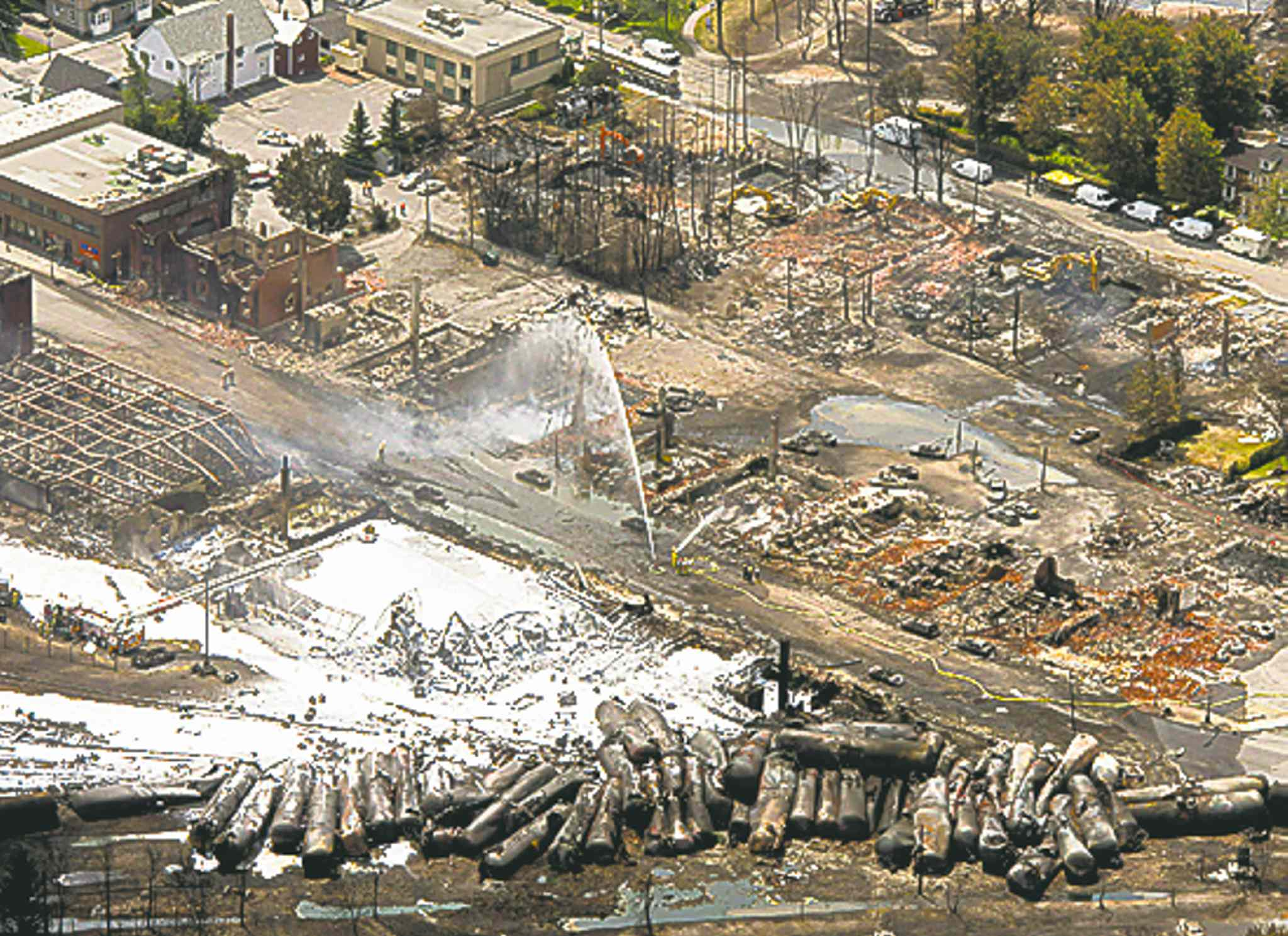 Downtown Lac-Megantic lays in ruins July 7.