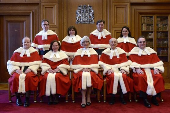 The Supreme Court justices pose for a group photo during the official welcoming ceremony for Supreme Court of Canada Justice Suzanne Cote at the Supreme Court Tuesday Feb.10, 2015 in Ottawa. Top row (left to right) Justice Clement Gascon, Justice Andromache Karakatsanis, Justice Richard Wagner, and Justice Suzanne Cote. Bottom row: (left to right) Justice Thomas Albert, Justice Rosalie Silberman Abella, Justice Beverly McLachlin, Justice Marshall Rothstein and Justice Michael Moldaver.The Supreme Court of Canada will not hear a Quebec native group's appeal against a proposed hydro project in Labrador. THE CANADIAN PRESS/Adrian Wyld