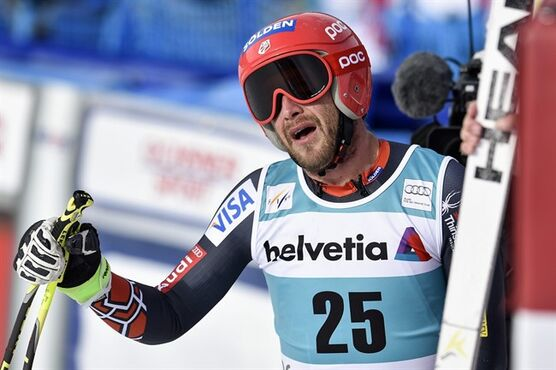 Bode Miller of the US reacts during the men's downhill training session at the alpine skiing World Cup finals, in Lenzerheide, Switzerland, Tuesday, March 11, 2014. (AP Photo/Keystone, Peter Schneider)