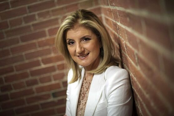 Arianna Huffington, co-founder and editor-in-chief of The Huffington Post Media Group, poses while promoting her new book